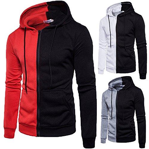 Deportes Hombres Cebbay Manga con Jacket Shirt de Larga Sudadera Panel Sweater Zip los Capucha Top Blanco Liquidación TTw1qYz