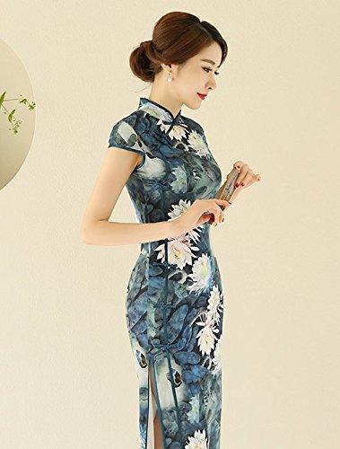 Soirée Traditionnel Fleur 3 Magnifique Pour Maxi Cheongsam Robe Femme Acvip Eté Imprimé De Asiatique Chinois Couleur Qipao OfPUwY4R