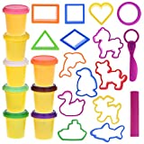 Kids Clay Dough Tools Playset, Animal Sea Creatures Toy Shapes Maker, Geometry Preschool Educational Toys DIY Art and Craft Kit with Dough Molds Cutters, Play Rolling Pin-24 Pcs (Clay Included)