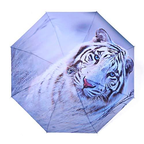 4Truth Sun Umbrella Folding, Women UV Waterproof Protection Umbrellas Digital Printing Parasol, Ladies Creative Triple 190T Parasols 8 Bones