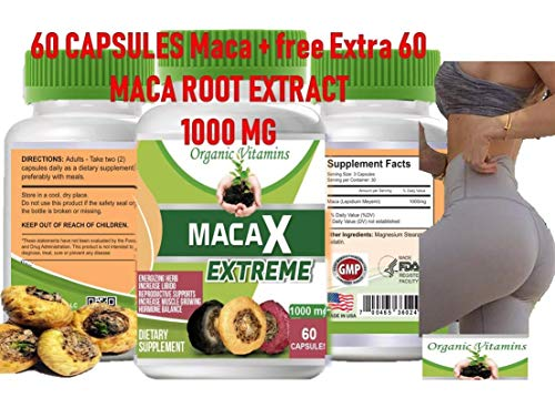 Maca Capsules Original Pill Shape Buttocks Bigger Butt Booty Shaper Super MACA Get a Bigger Booty and Free Maca Extreme 60 Capsules Total 120 Capsules (Best Maca Root For Bigger Booty)