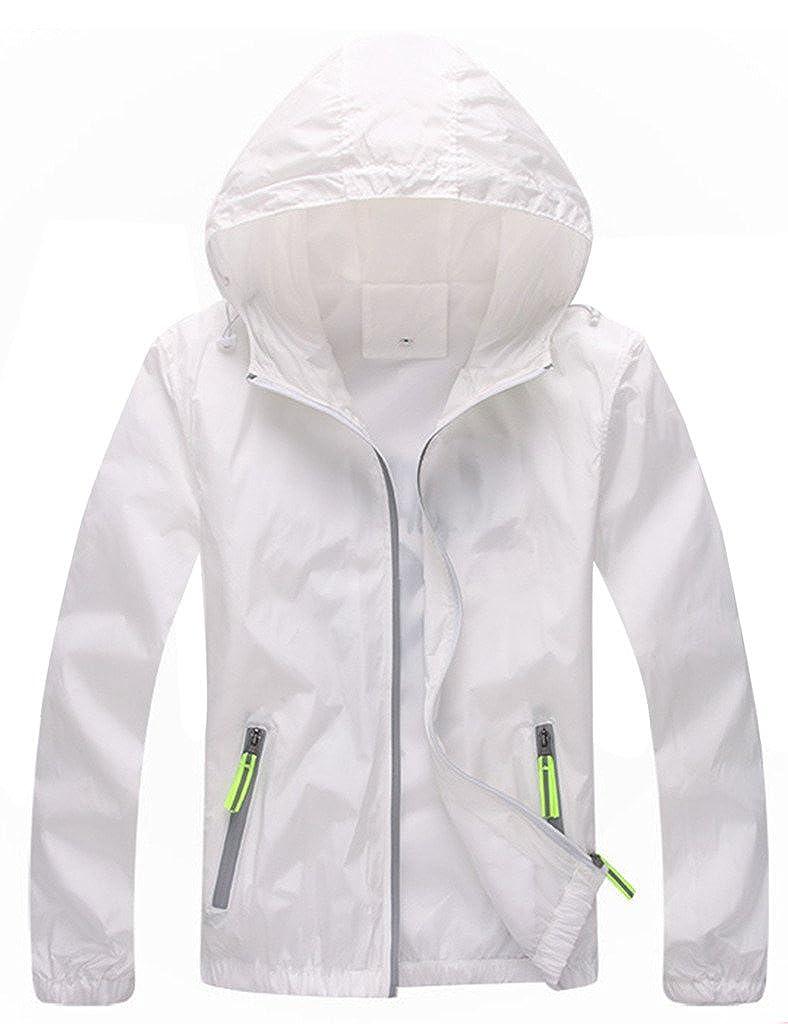 Lasher レディース 軽量 ウインドブレーカー 紫外線保護 コート フード付き ファスナー式 スポーツジャケット B01L1OKN64 L ホワイト ホワイト L