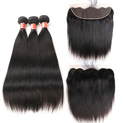 HANBINGPO Malaysian Straight Hair Bundles With Frontal Human Hair Bundles With Frontal Non-Remy 3 Bundles With Frontal,22 24 26 & Closure18,Free Part ()