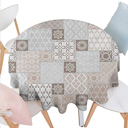 Arabian Printed Round Tablecloth Oriental Motif Pastel Patchwork Pattern with Filigree Ornaments Illustration Flannel Round Tablecloth D60 White Beige Grey