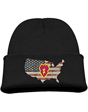 Army 25th Infantry Division Subdued Veteran US Flag Boy Girl Beanie Hat Knitted Beanie Knit Beanie