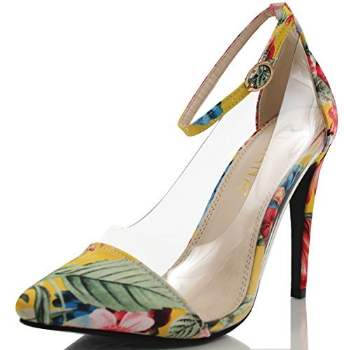 Floral Leather Heels (Liliana Women's Olga 1A Faux Patent Leather Pointed Toe Lucite Panel Ankle Strap Heels, Nude 10 M US (Floral, 6 M US Women))