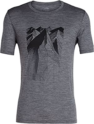Icebreaker Merino Men's Tech Lite Short Sleeve Crewe Geometry of Geology Athletic T Shirts, Small, Gritstone Heather