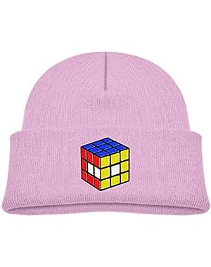 Kids Knitted Beanies Hat Rubik's Cube World Winter Hat Knitted Skull Cap for Boys Girls Pink
