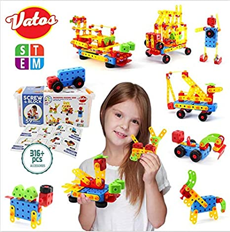 VATOS Bausteine STEM Spielzeug 316 St/ück Kreatives Baugeb/äudespielzeug Lernspielzeug P/ädagogische Ingenieurbl/öcke Spielzeugbausatz f/ür 3-10 J/ährige Jungen /& M/ädchen Kinder