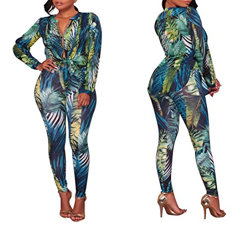 5fac24a03b YouSexy Women s Casual Floral Long Sleeve Top Bodycon Stretch High Waist Pants  2 Pieces Outfit Jumpsuit