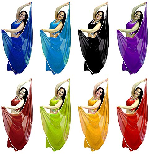 Trimmed Chiffon - Trimmed Semi Circle Veils Belly Dance Costume Veil Wrap Scarf, Gold or Silver Trim (Pack of 10, Assorted with Silver Trim)
