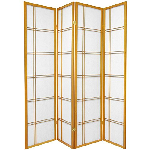 Oriental Furniture 6 ft. Tall Double Cross Shoji Screen - Honey - 4 Panels (Lamp Asian Screen)