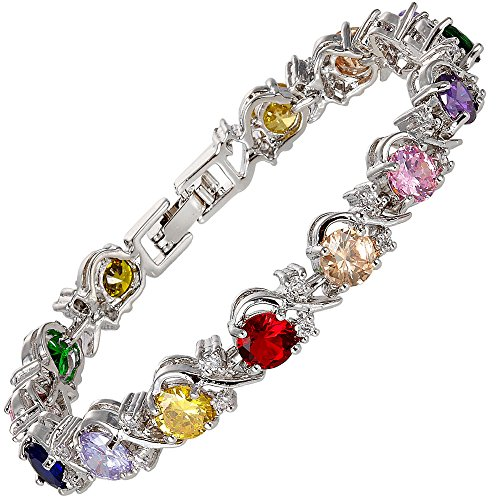RIZILIA Blossom Round Multi-Color CZ and White Cubic Zirconia 18K White Gold Plated Tennis Bracelet, 7