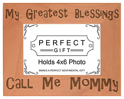 ThisWear Mom Blessings Call Me Mommy Natural Wood Engraved 4x6 Landscape Picture Frame ()