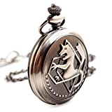 BoShiYa Vintage Quartz Fullmetal Alchemist Ed's Pocket Watch with Chain for Men & Boy(Black)