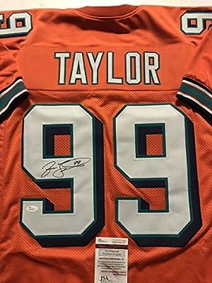 Autographed/Signed Jason Taylor Miami Dolphins Orange Football Jersey JSA COA