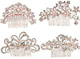 Pack of 4 Bridal Wedding Hair Comb Rose Gold Crystal Rhinestones Pearls Women Hair Side Combs Bridal Head Pin Headpiece (Rose Gold)