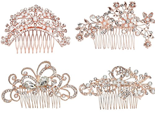 (Pack of 4 Bridal Wedding Hair Comb Rose Gold Crystal Rhinestones Pearls Women Hair Side Combs Bridal Head Pin Headpiece (Rose Gold))
