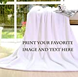 Personalized Customize Throw Blanket bed blanket Made Custom from Your Photo INTO Soft Fabric Velvet Plush Fleece Keepsake Gift Personalized Your Photo Image Text Picture Printed (Standard 50'X60')