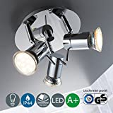 LED bathroom ceiling light I pivotable I splash water proof I spotlight I warm white I chrome design I 3 x 3 W illuminants I 230 V I GU10 I IP44
