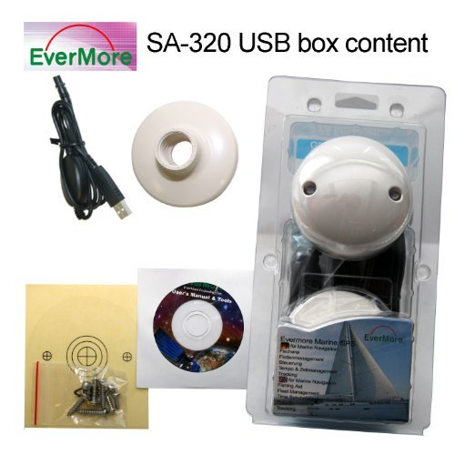 SA-320 USB Marine GPS Receiver with Evermore Chip. Evermore GPS Satelitte Receiver for Marine, Boat - Connect it to PC; Laptop, Desktop, Notebook to receive standard NMEA Data over USB to navigate