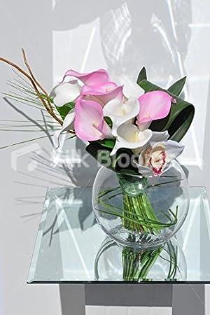 Artificial moderno color rosa y blanco lirio y arreglo Floral de la orquídea Cymbidium mesa: Amazon.es: Hogar