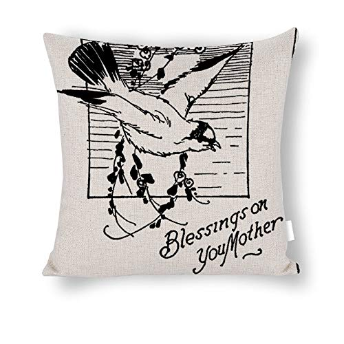 TiuKiu Vintage-Happy Mother'sday- Happy Mother's Day Cotton Linen Square Home Decorative Throw Pillow Case Cushion Cover Pillowcase for Sofa 22x22 Inches -