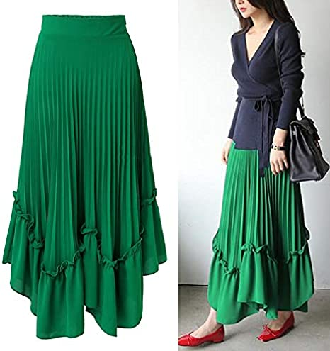 QYYDBSQ Primavera Verano Falda de Las Mujeres Shorts Maxi Falda de ...