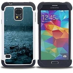 - rain fall blue storm summer nature - - Doble capa caja de la armadura Defender FOR Samsung Galaxy S5 I9600 G9009 G9008V RetroCandy