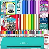 Silhouette Cameo 3 Deluxe Teal Bluetooth Starter Bundle with 26-12'' x 12'' Oracal Vinyl Sheets, Transfer Paper, Guides, Class, Designs, and Sketch Pens