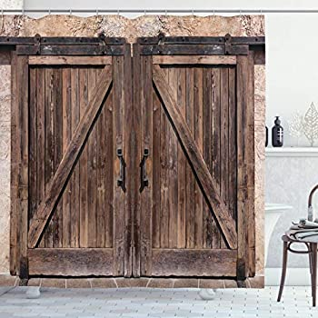Ambesonne Rustic Shower Curtain, Wooden Barn Door in Stone Farmhouse Image Vintage Desgin Rural Art Architecture Print, Cloth Fabric Bathroom Decor Set with Hooks, 84