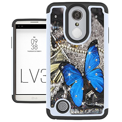 LG Aristo Case, LG Phoenix 3 Case, LG K8 2017 Case, LG Fortune Case, LG LV3 Case, UrSpeedtekLive [Shock Absorption] Studded Rhinestone Bling Dual Layer Protective Case Cover - Blue Butterfly