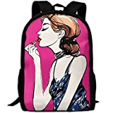 Gold Hair Women Lipstick Double Shoulder Backpacks For Adults Traveling Bags Full Print Fashion