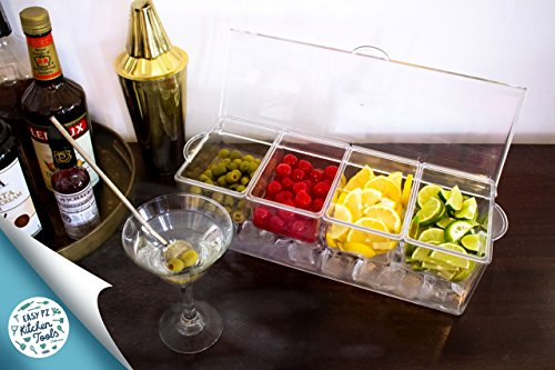 Ice Chilled Condiment Server and Organizer with 4 Removable Trays. Clear Caddy with Lid. Holds Fruit, Veggies, Cheese and more. Good for Pizza, Sundae, and Taco Toppings. Bar Top Condiment Cooler. by Easy PZ Kitchen Tools (Image #1)