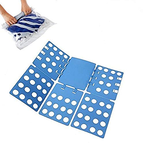 T Shirt Clothes Folder [Bonus] 2 Compression Space Saver Bags - Adjustable Folding Board for Pants, Towels, Shirts, Laundry . Fold Like a Pro in Seconds! Works for Sizes Kids to Adult .