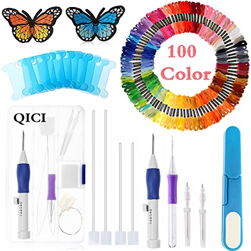 Magic Embroidery Pen Punch Needle,Embroidery Pen Set Craft Tool Including 100 Color Threads for Embroidery Threaders Knitting Sewing Tool (Embroidery Magic)