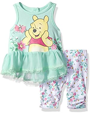 Girls' 2 Piece Winnie the Pooh Crinkle Chiffon Capri Legging Set