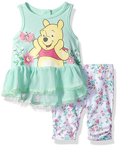 Disney Girls' 2 Piece Winnie The Pooh Crinkle Chiffon Capri Legging Set, Mint Green, (Pooh Baby Girl)