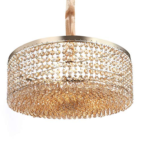 Luxurious Crystal Chandelier with Circle Shape Crystal Lighting Fixture Pendant Lamp for Dining Room Bathroom Bedroom Living-Room 3 E26 LED Bulbs Required H6.1 in x W15.8 in (Champagne Gold)