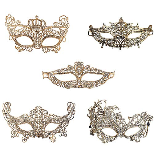 iMapo 5 Pack Masquerade Masks, for Women Girl Lace Eye Mask, Opera Halloween Dancing Evening Party Elegant Mardi Gras Lady Eye Mask - -