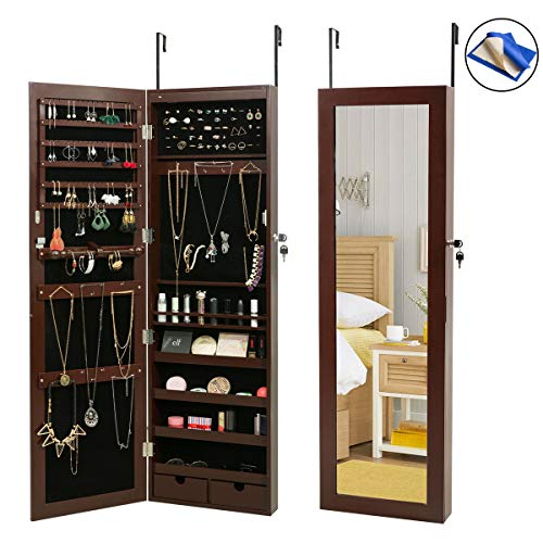 HollyHOME Jewelry Armoires LEDs Jewelry Cabinet Lockable Wall Door Mounted Organizer Storage with Mirror,Brown by HollyHOME
