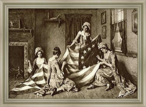 Framed Canvas Wall Art Print | Home Wall Decor Canvas Art | Betsy Ross Sewing The First U.S. Flag Philadelphia, Pennsylvania, 1777 | Modern Decor | Stretched Canvas ()
