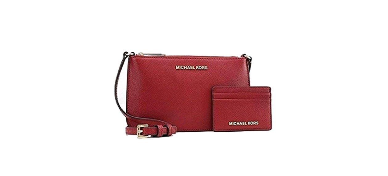 Michael Kors Crossbody Bag/ Cardholder Gift Set, Red