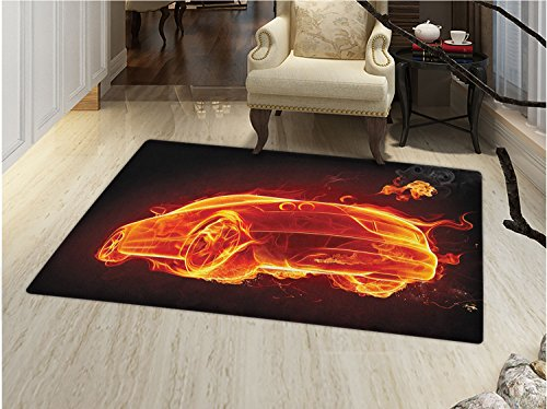 smallbeefly Cars Bath Mats Carpet Automobile in Flames Burning Hot Modern Car and Fire Creative Concept Design Floor Mat Pattern Orange Red Black