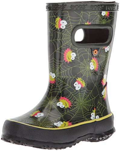 Bogs Kids' Skipper Waterproof Rubber Rain Boot for Boys and Girls,Smiley Spiders/Dark Green/Multi,11 M US Little Kid by Bogs (Image #1)