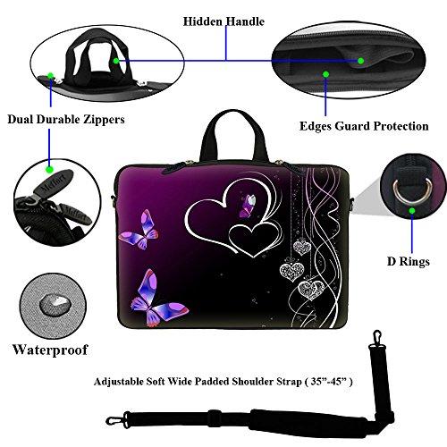 Meffort Inc 14 14.1 Inch Neoprene Laptop Sleeve Bag Carrying Case with Hidden Handle and Adjustable Shoulder Strap (Purple Butterfly Heart)