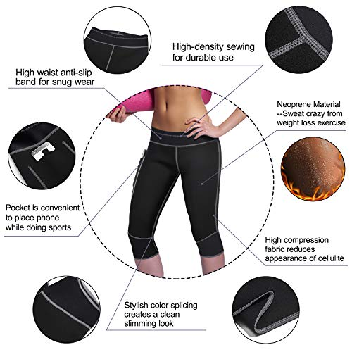 Womens Weight Loss Hot Neoprene Sauna Sweat Pants with Side Pocket Workout Thighs Slimming Capris Leggings Body Shaper (Black, M) by TrainingGirl (Image #3)