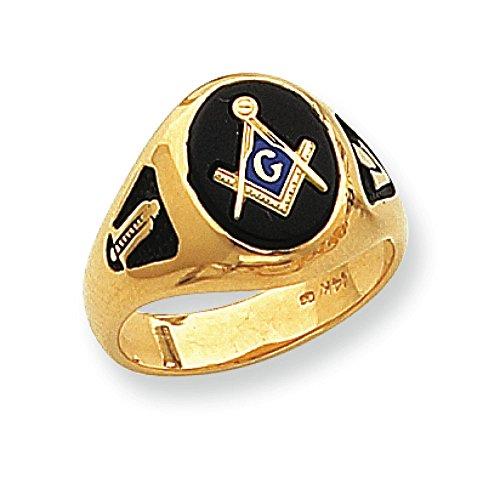 Men's 14K Yellow Gold Black Onyx Masonic Ring - Masonic Black Onyx