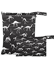 AUUXVA 2pcs Wet Dry Bags Waterproof Funny Dinosaur Bones Cloth Diaper Bag Reusable with Two Zippered Pockets Travel Beach Pool Daycare Items Yoga Gym Washable Bag for Swimsuits Wet Clothes