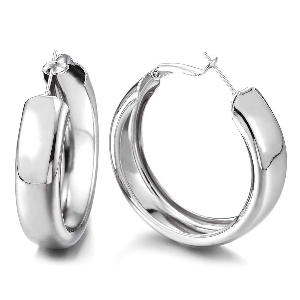 Large Statement Earrings Wide Circle Huggie Hinged Hoop Party Event Prom Dress Fashionable